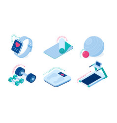 home sport workout equipment isometric icons set vector image