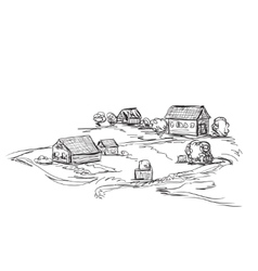Houses in village Landscape sketch vector
