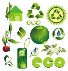 icon set eco bio vector image
