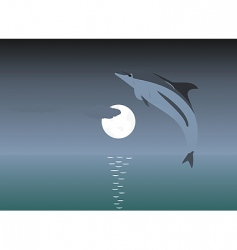jumping dolphin over a moon vector image