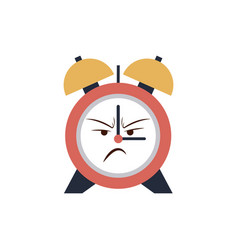 Kawaii clock alarm time cartoon angry vector