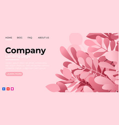 landing page template with green trendy exotic vector image