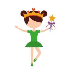 Little girl dancer ballet holding magic wand vector