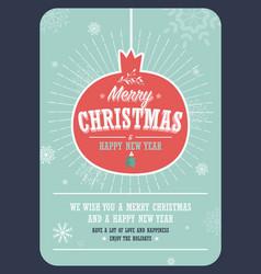 merry christmas card on a decorative christmas vector image