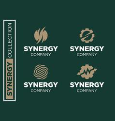 modern professional set logos synergy vector image