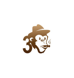 Monkey head icon logo with number 3 template vector