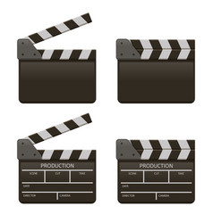 movie clap board film open and close clappers vector image