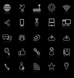 Network line icons with reflect on black vector