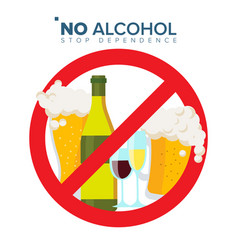 No alcohol sign strike through red circle vector