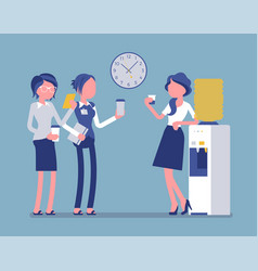 Office cooler chat young female workers vector