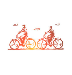 old couple bicycle happy sport concept hand vector image