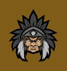 Old man indian head mascot logo vector