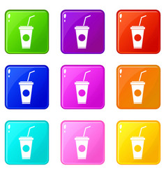 Paper cup with straw icons 9 set vector
