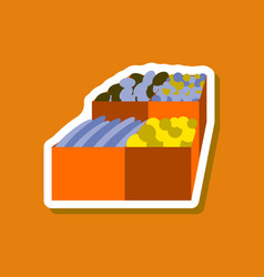 Paper sticker on stylish background food boxes vector