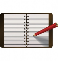 Pencil writing in notebook vector
