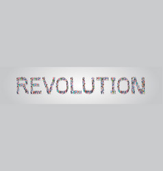 People crowd gathering in shape revolution word vector