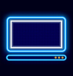 Personal computer shining pc neon icon device vector