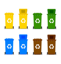 Recycle bins with recycle symbol vector
