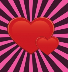 red hearts and pink sunburst vector image vector image
