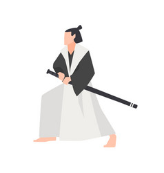 samurai warrior isolated on white background vector image