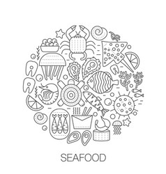 Seafood in circle - concept line vector