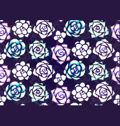 seamless pattern of neon succulents with patches vector image