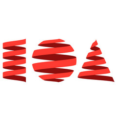 set 3d strip centered on geometric shapes vector image