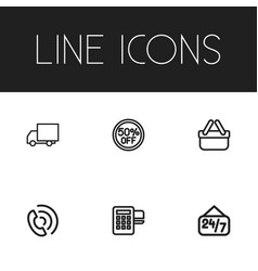 set of 6 editable trade icons includes symbols vector image