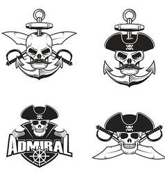 Set of pirate skulls vector image