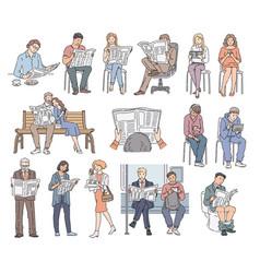 set people reading newspaper vector image