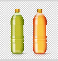 set plastic colored bottles for beverage vector image