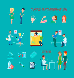 sexual health diseases icon set vector image