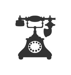 Silhouette of antique retro telephone vector
