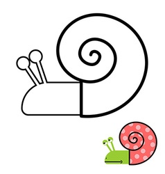 Snail coloring book Gastropoda clam with spiral vector image