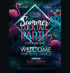 Summer cocktail disco party typography poster vector
