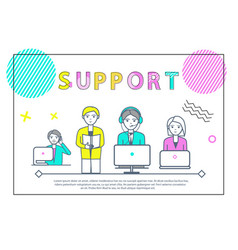 Support team of people with laptops poster vector
