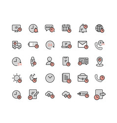 Time filled outline icon set vector