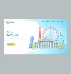 time to travel pisa tower ferris wheel paris vector image