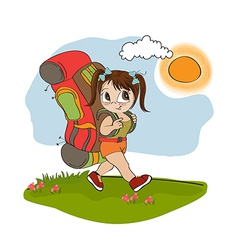 Traveling tourist girl with backpack vector image
