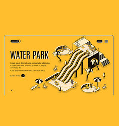 water park attractions isometric web banner vector image