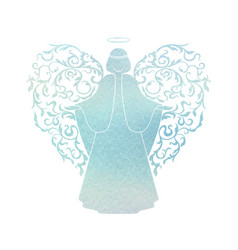 Watercolor angel with floral wings and nimbus vector
