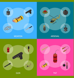 weapons 3d banner set isometric view vector image
