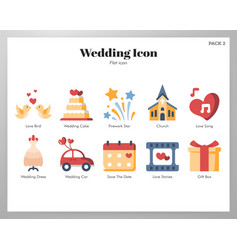 wedding icons flat pack vector image