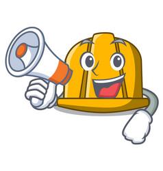 with megaphone construction helmet character vector image