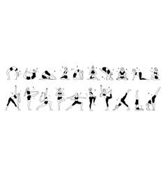 woman yoga monochrome set vector image