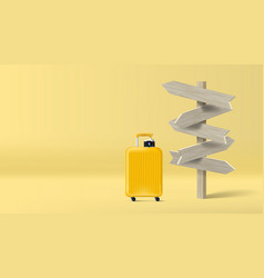 yellow travel bag and 3d wood signpost concept vector image