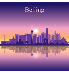 Beijing silhouette on sunset background vector image vector image