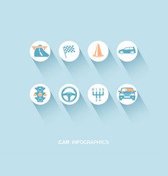 car infographic with flat icons vector image vector image