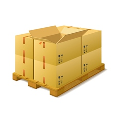 Cardboard boxes on a pallet in stock vector image