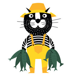 cool cartoon cat like fisherman holding fishes vector image vector image